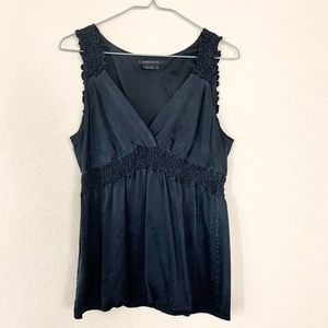 BCBGMaxAzria 100% Black V-Neck Tank With Ruching